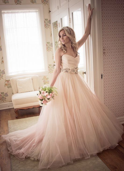 Pale pink wedding gown and gorgeous bride. Captured By: Equinox ...