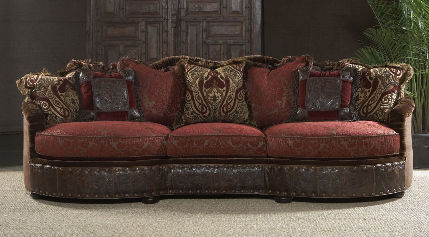 Luxury red burgundy sofa or couch. Bernadette Livingston Furniture offers a  superb collection of high end furniture and furnishings.