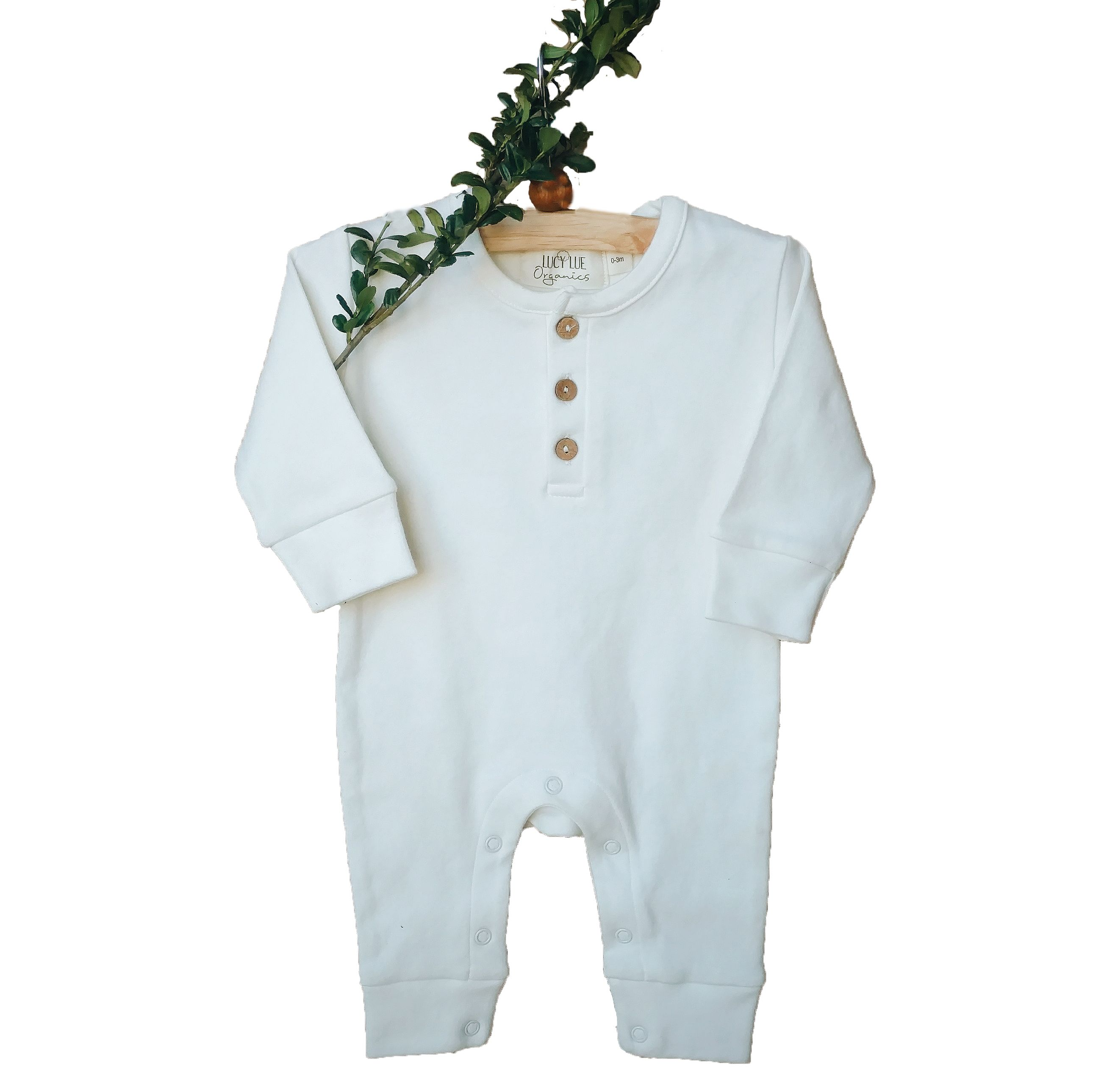 Organic long sleeve coverall ivory