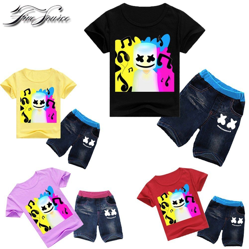 Marshmellow Dj Music Print Marshmello Dj T Shirt 2pcs Boys Girls