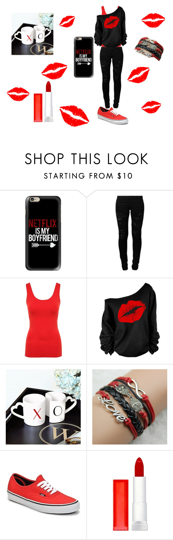 """""""Netflix is my Boyfriend<3"""" by meagan333 ❤ liked on Polyvore featuring Casetify, Vero Moda, Jane Norman, Cathy's Concepts, Vans and Maybelline"""
