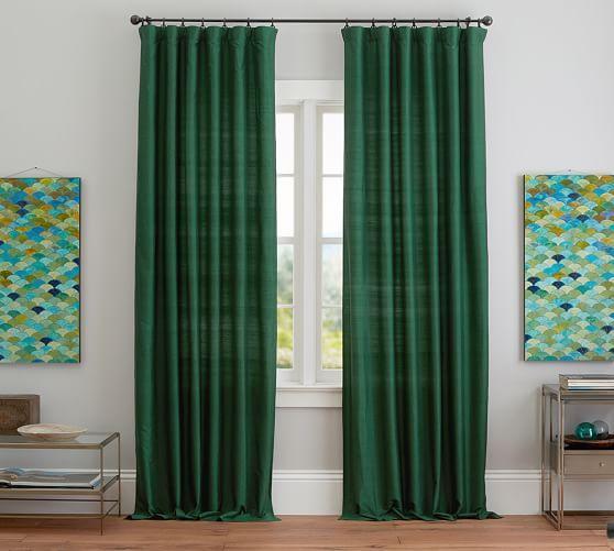 Dupioni Silk Rod Pocket Curtain Brownstone In 2020 Green