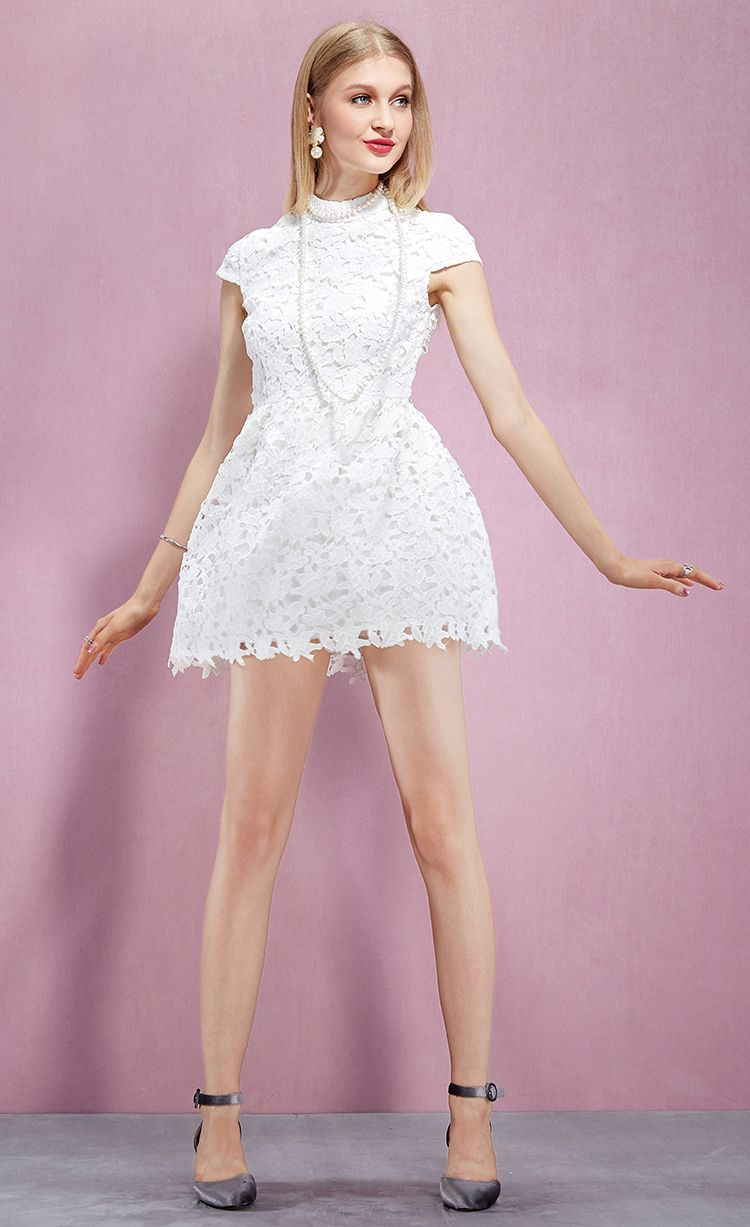 741679ba9e YIGELILA Latest Fashion Short Sleeves White Lace Embroidered Mini Summer Party  Dresses 61067 UK Online For