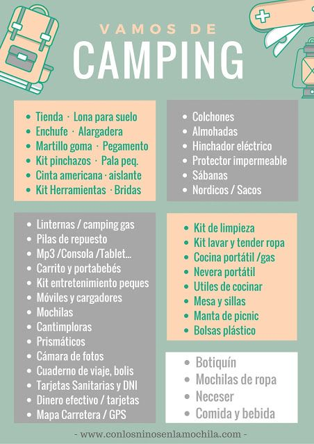 Acampada en familia: ¿Qué nos tenemos que llevar para ir de camping