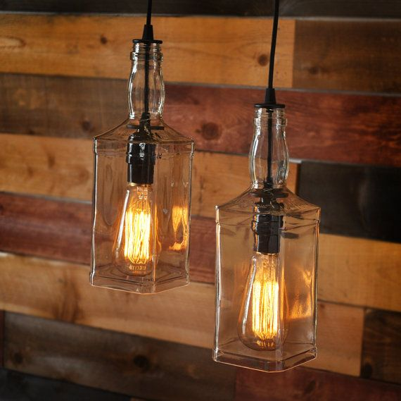 Rustic Pulley Pendant Light With Whiskey Bottles Bottle Pendant
