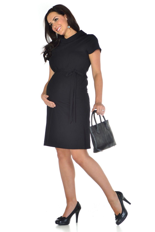 Black dress office - Black Polo Neck Maternity Office Dress