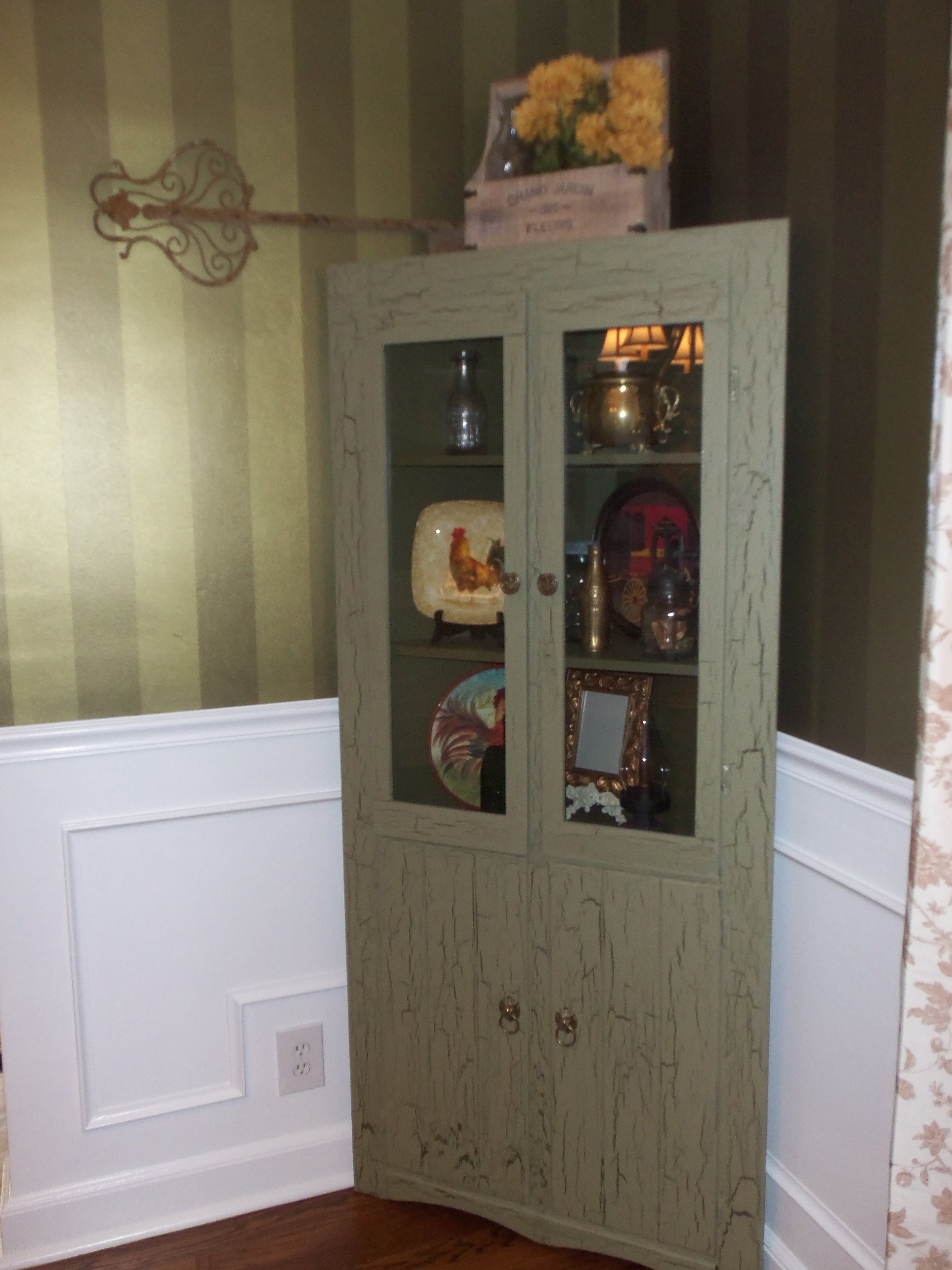 Old Farmhouse China Cabinet With A Crackle Paint Job Shabby Chic Decor China Cabinet Crackle Painting