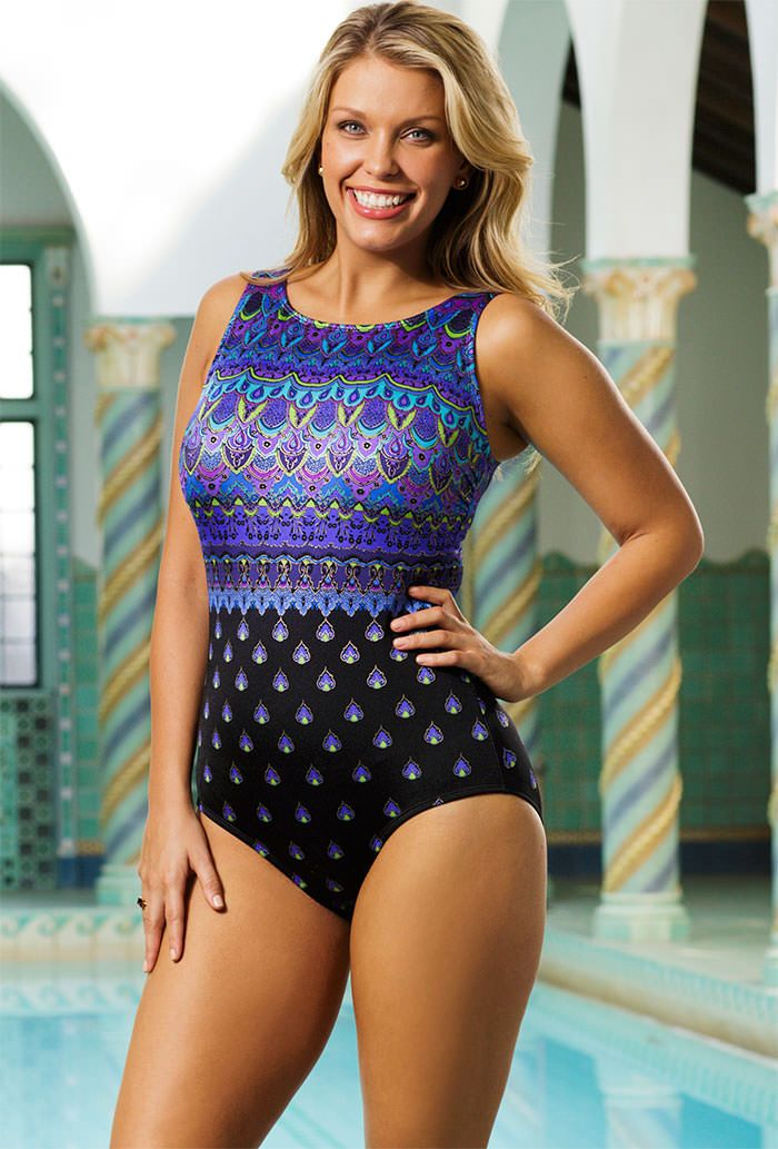 longitude camelot plus size high neck swimsuit | swimwear