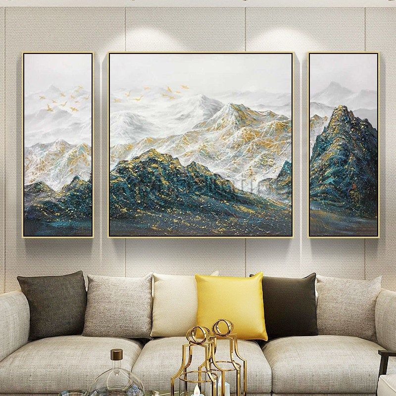 3 pieces wall art abstract mountain painting peaks gold