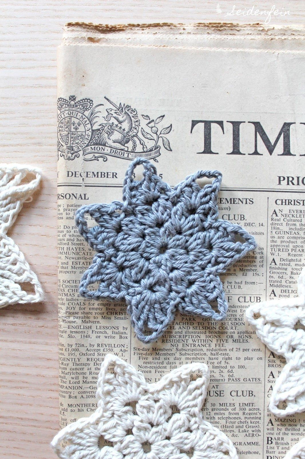 seidenfeins Blog vom schönen Landleben: 2. Häkelsterne als Coaster mit Anleitung * crochet star - coaster with DIY Tutorial #crochetedearrings