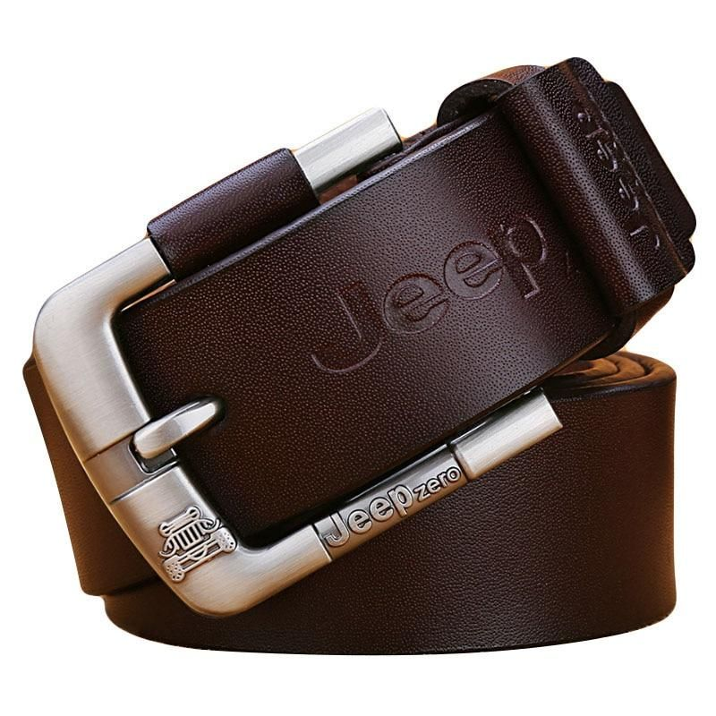 Premium New Genuine Cow Leather JEEP Engraved Men/'s Belt  Casual Business Black