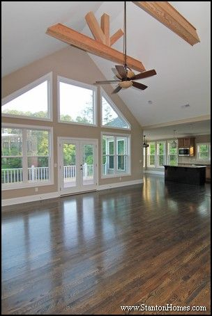 Decorative Ceiling Beams Beams Run Horizontal With Decorative Trusses Rising To The Cathedral Ceiling Living Room Ceiling Beams Living Room Great Rooms