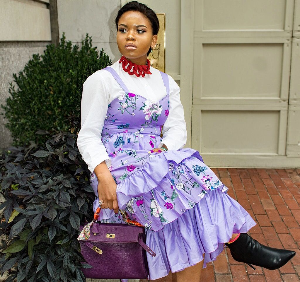 f16e52db263b Purple floral tiered dress by H&M. Street style. | Fall/winter ...