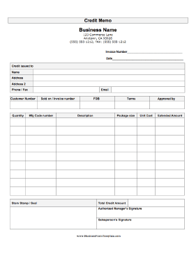 This Printable Credit Memo Records Detailed Information On