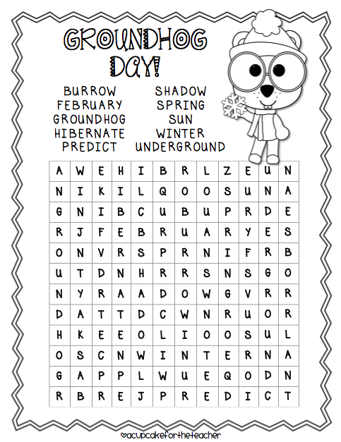 groundhog day 14 heads up ideas word search and unit teach junkie