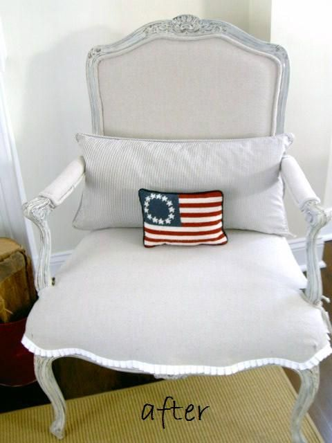 Shabby Chic Armchair Recover Painted Distressed Beautiful Trim