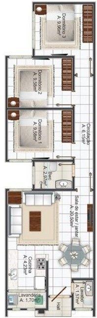 Planos de casa de 6 metros de ancho x 14 de largo for Fachadas de casas modernas de 6 metros