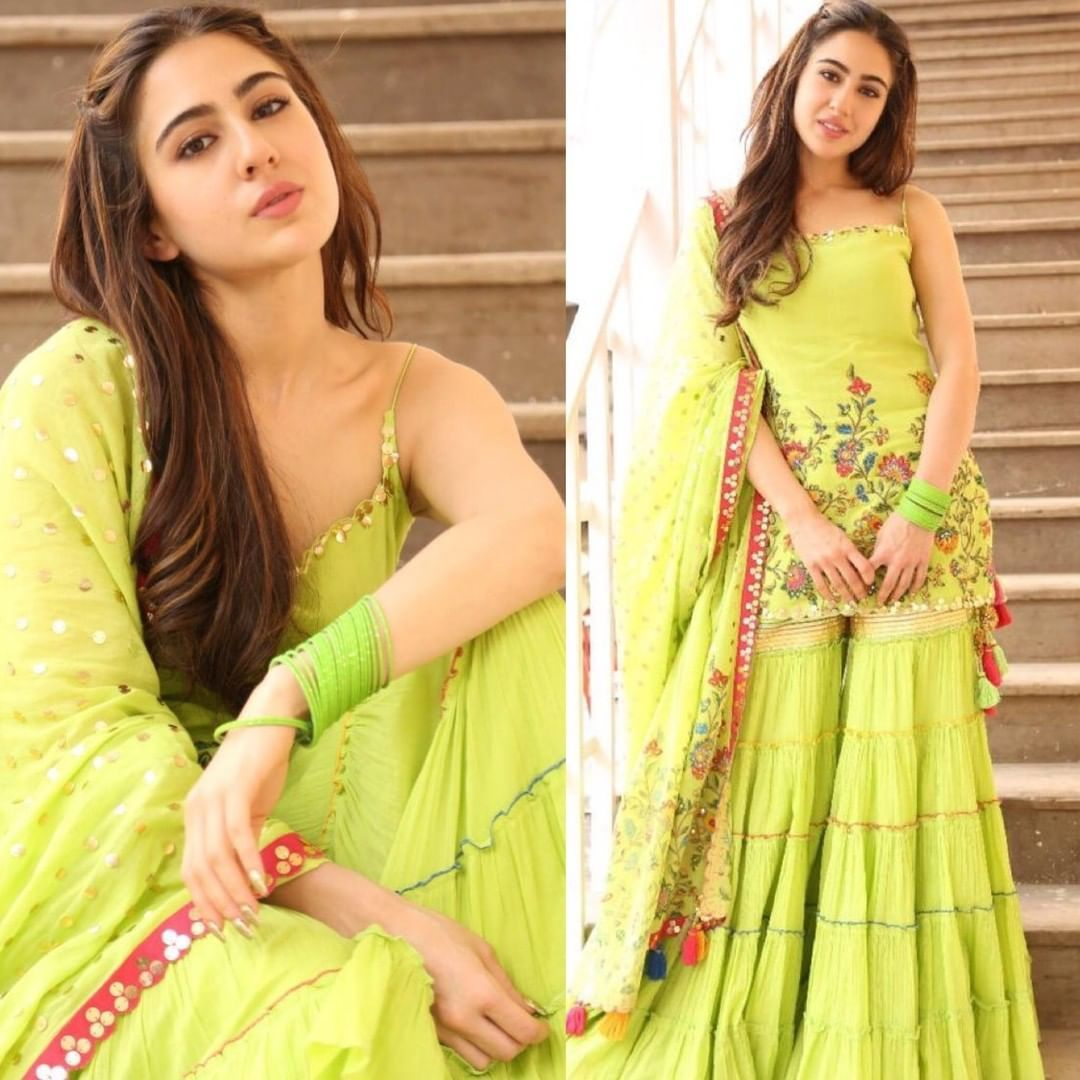 Neon has never looked this beautiful Sara Ali Khan look mesmerising  today for Kedarnath promotions ?… | Indian outfits, Sharara designs, Indian  designer outfits