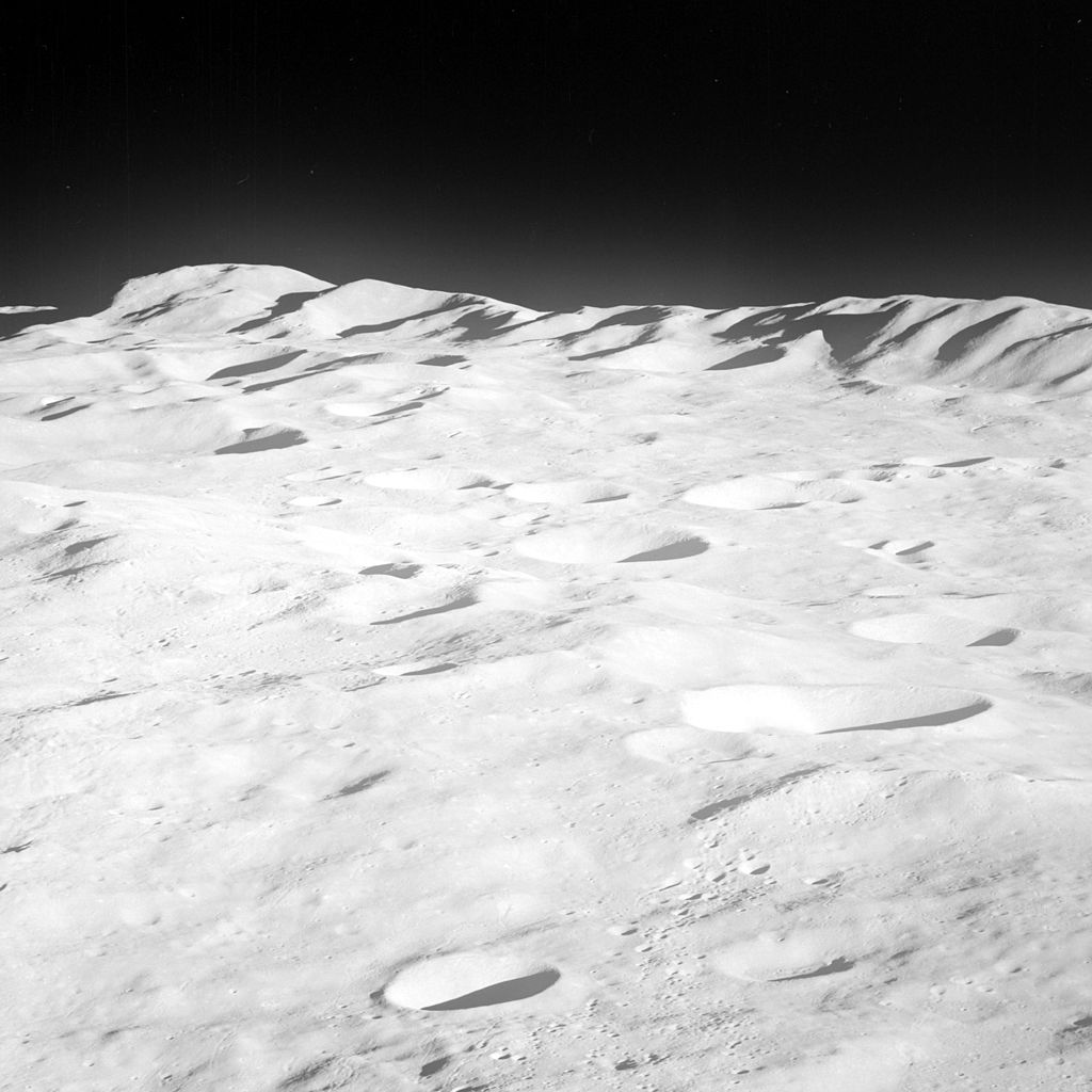 Rim mountains of the South PoleAitken basin on the far side of the Moon taken by Apollo 8