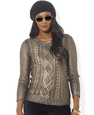 6e05f95b4 Lauren Ralph Lauren Petite Metallic Cable-Knit Sweater | fashion ...