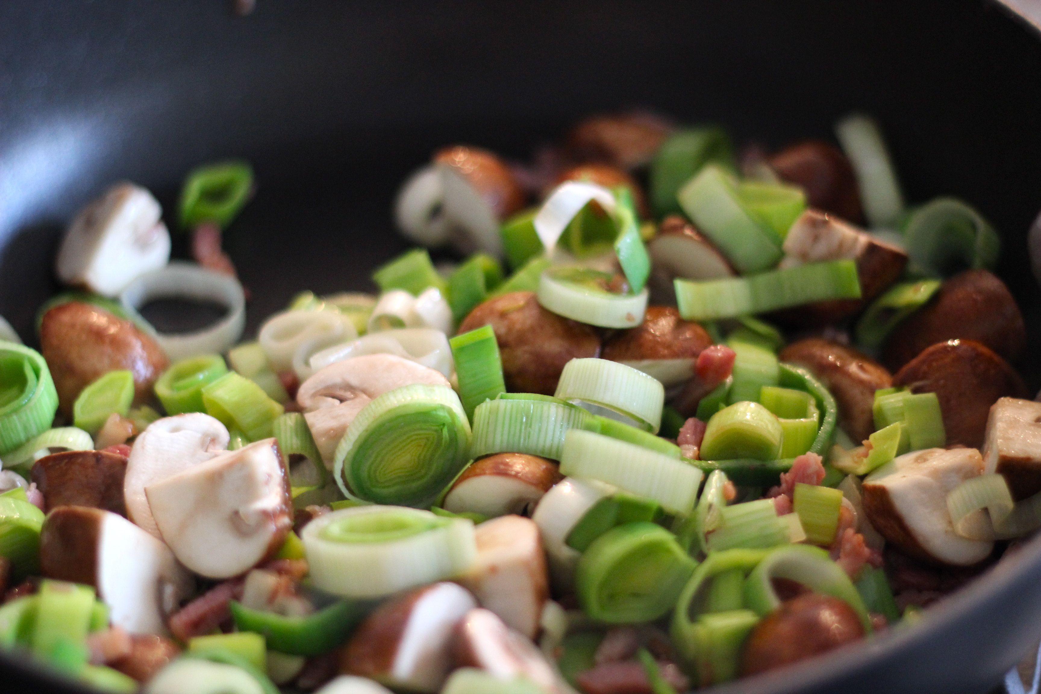Linzen schotel met prei spekjes en champignons