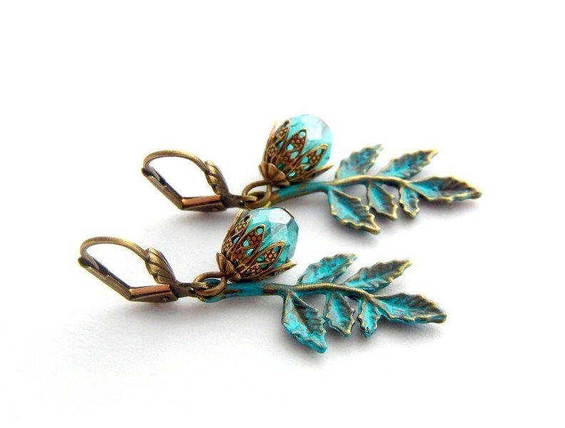 """Ohrringe - """"turquoise Leaf"""" - ein Designerstück von Fontaenchen bei DaWanda und Etsy. € 9,90"""