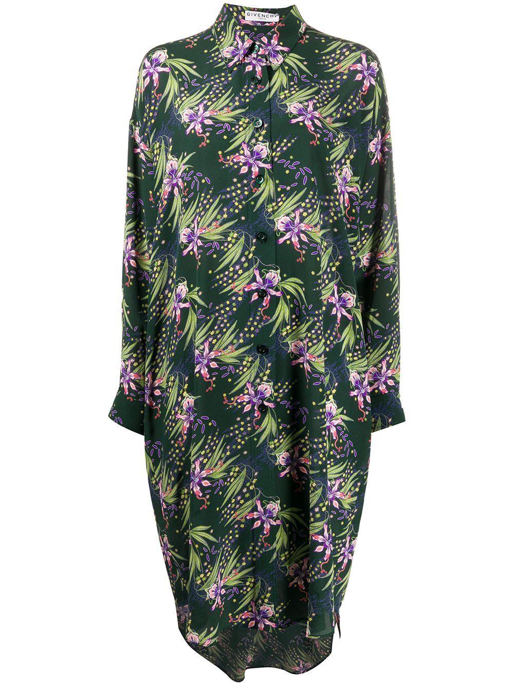 Givenchy floral print silk shirt dress - Green