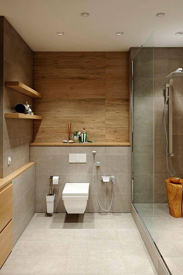Fliesen in Stein und Holzoptik im Bad kombinieren