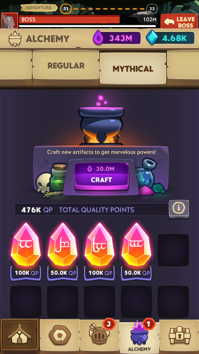 First look at Mythical artifacts tab (credits to Batman