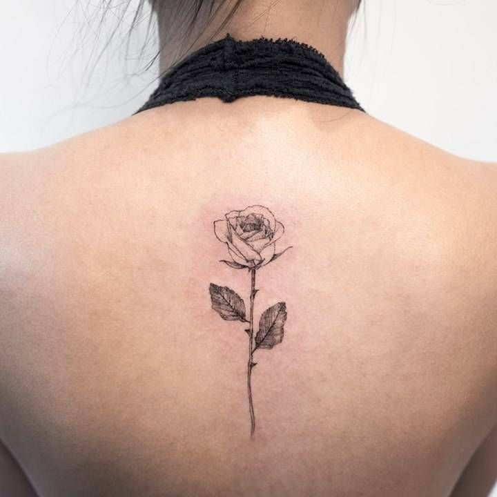 Rose Tattoo On The Upper Back Neck Tattoos Women Back