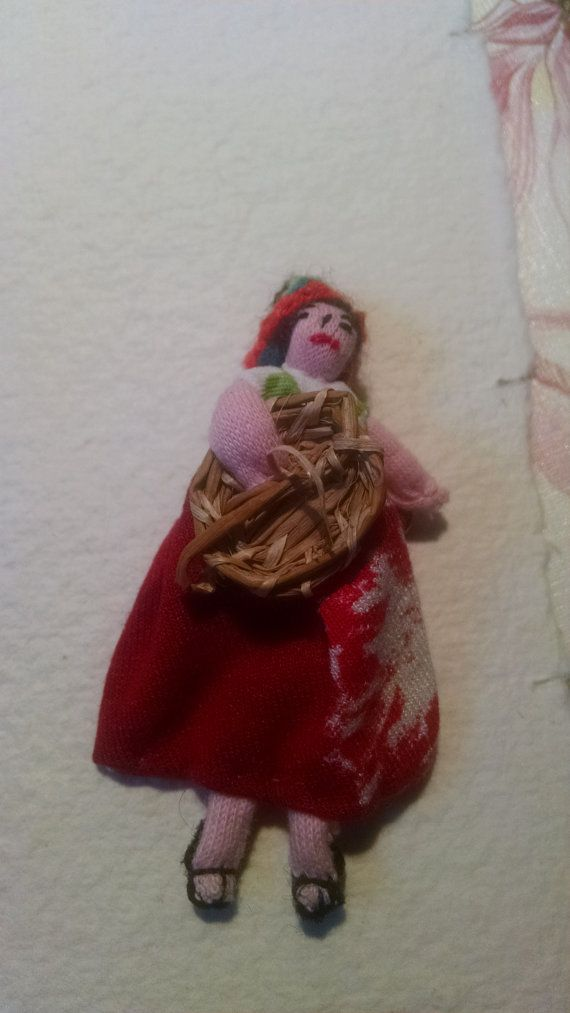 Adorable Vintage Estate Folk Art Red Fabric Doll by Glamaroni