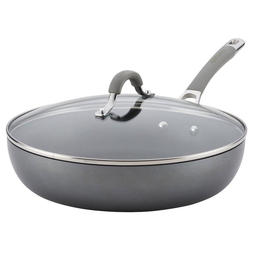 Circulon Elementum Hard Anodized 12 Inch Nonstick Deep Skillet Grey Hard Anodized Cookware Circulon Durable Cookware