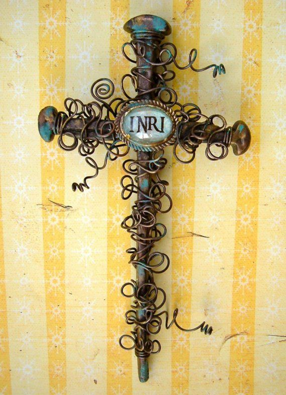 INRI Rustic Nail Wall Cross | Walls, Etsy and Patina metal