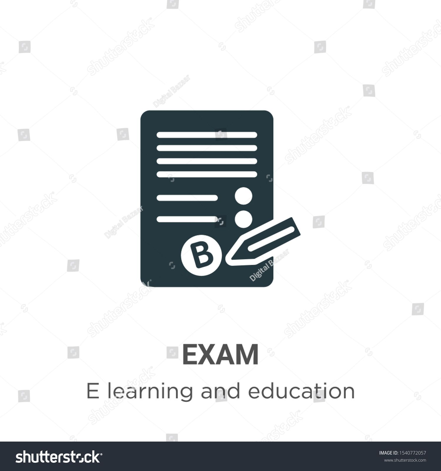 Exam Vector Icon On White Background Flat Vector Exam Icon Symbol Sign From Modern E Learning And Education Collection For Mobil Mockup Design App Design Exam
