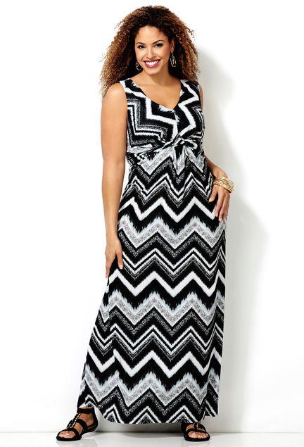 Graphic Chevron Knot Front Maxi Dress Plus Size Dress Avenue