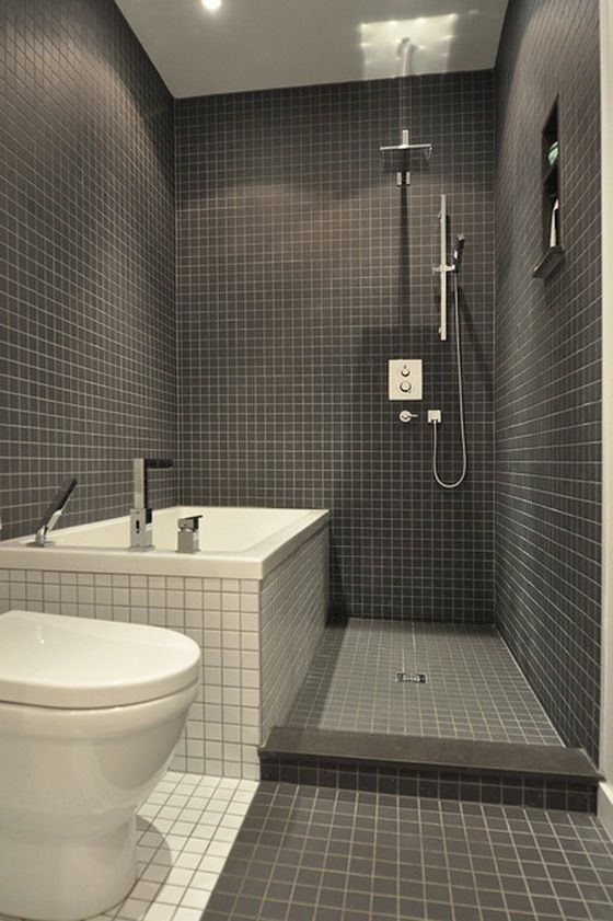 Marvelous Bathroom Ideas Dark Tile Part - 5: Great Use Of A Small Space Making It Clean, Functionable And Not  Claustrophobic