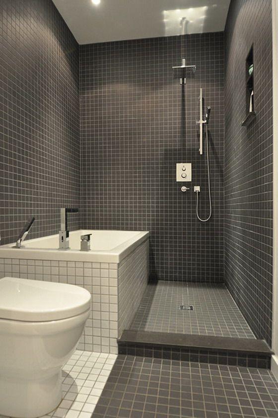 Small Modern Bathroom In Dark Tiles Bathroom Design Small Small