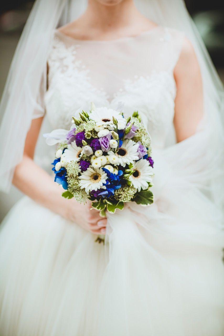 Brautstrauss weiss, lila, blau ♥ Bride bouquet white blue and purple