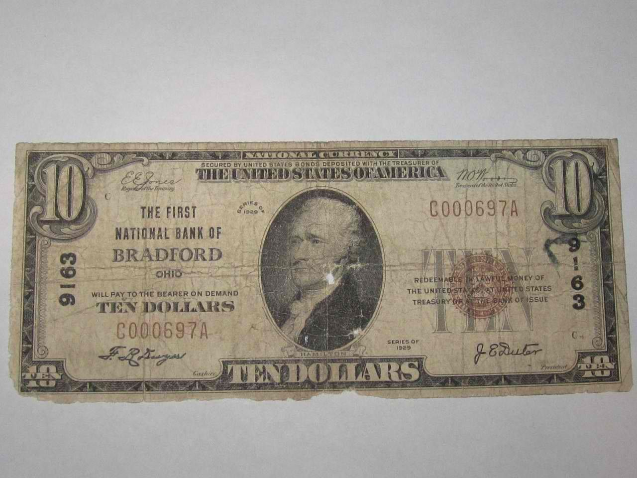 10 1929 Bradford Ohio OH National Currency Bank Note Bill