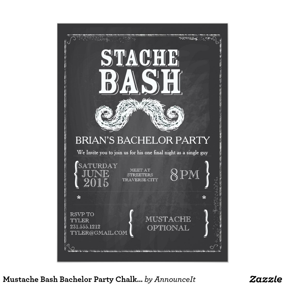 Mustache bash bachelor party chalkboard hipster card bachelor bachelor party invitations monicamarmolfo Choice Image