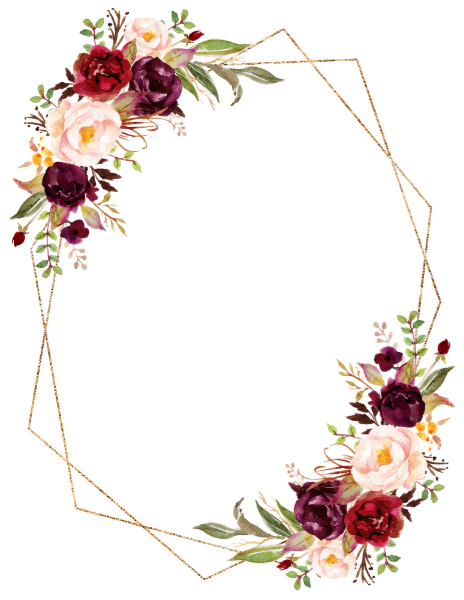 Burgundy Blush Floral Modern Geometric Details Enc
