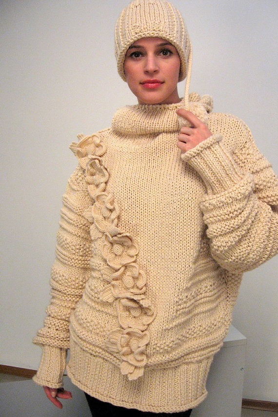 #übergroße pullover stricken Chunky knit pullover Oversized winter long sweate...