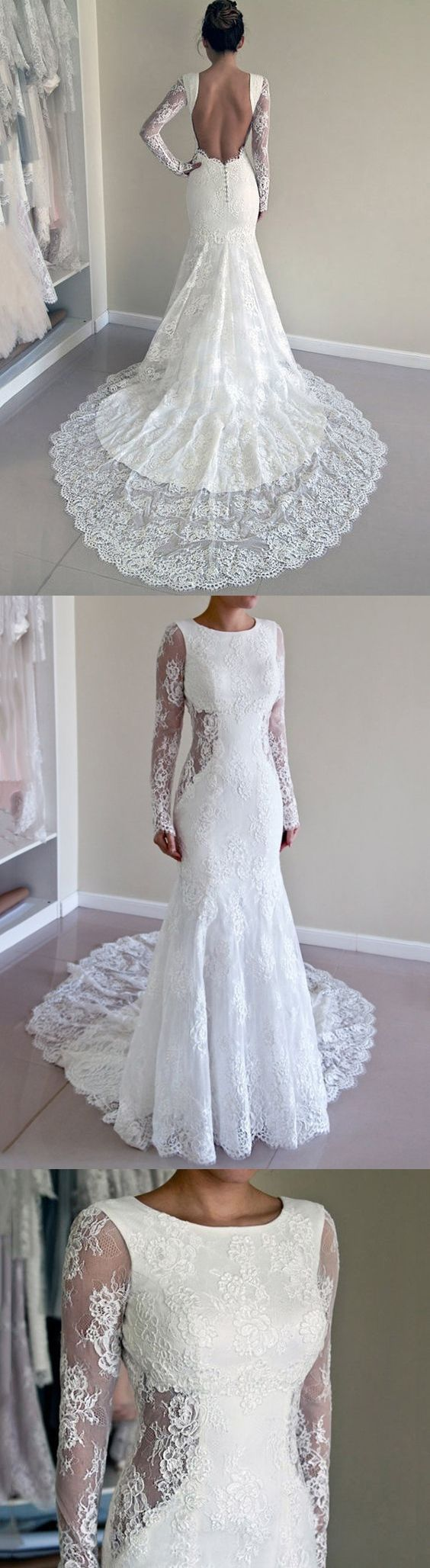Lace wedding dress open back mermaid  Sexy Wedding Dresses Scoop Backless Sweep Train Ivory Lace Mermaid