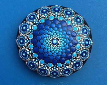 Stein Mandala Deep Blue Ocean Tropfen #mandala