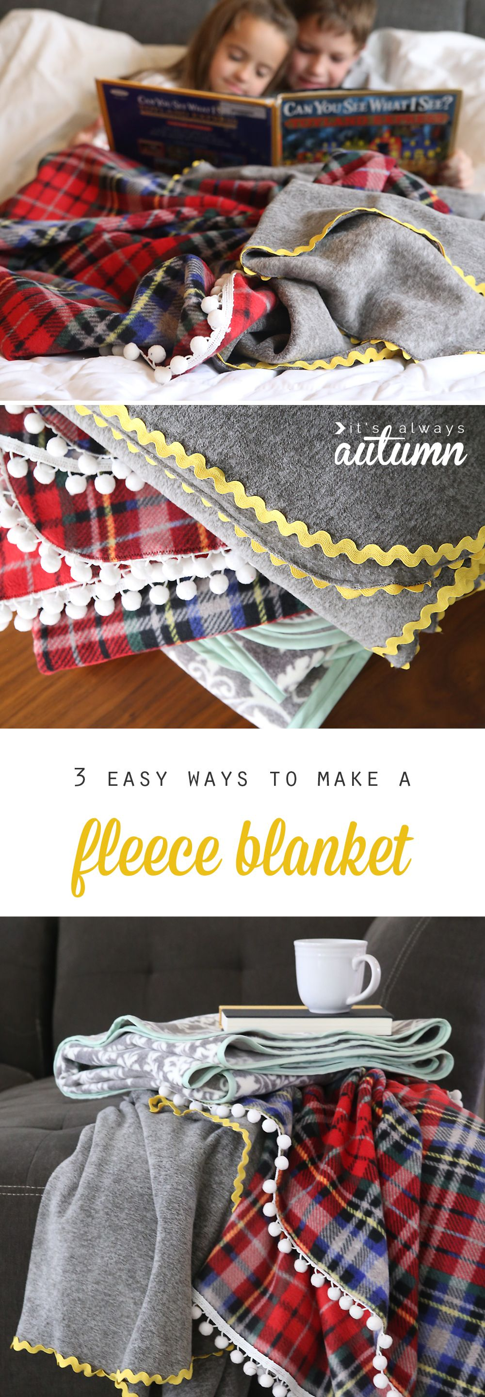 How To Make Gorgeous Diy Fleece Blankets It S So Easy It S Always Autumn Diy Sewing Blanket Diy Sewing Projects