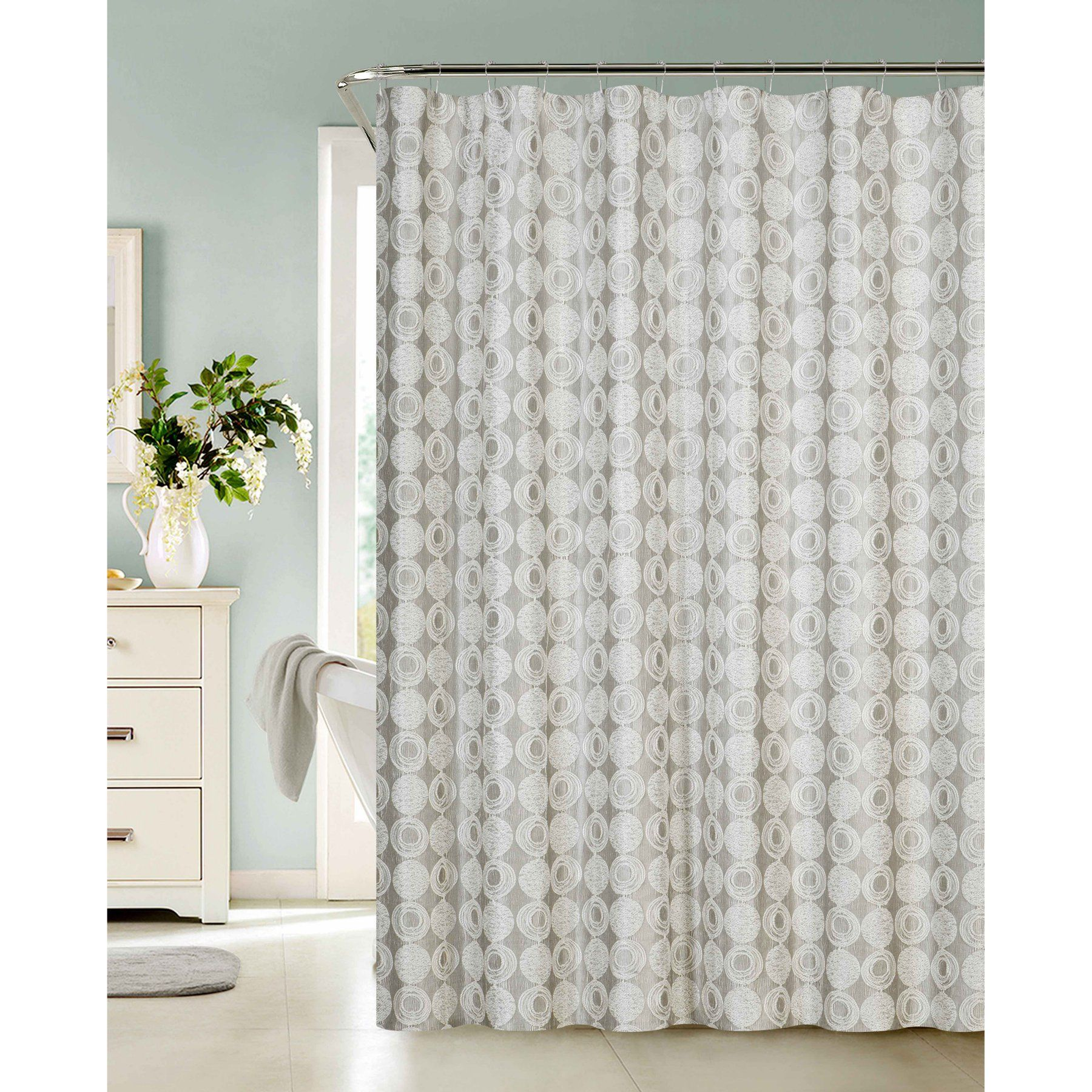 Dainty Home Twilight Heavy Textured Fabric Shower Curtain