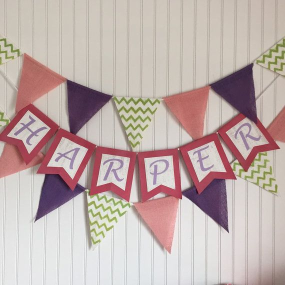 Custom banner. Name pennant. First birthday by ThePartyOrchard