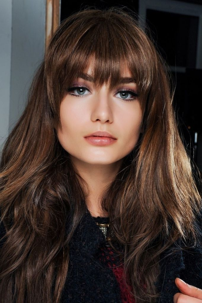 Long Brown Hair With Fringe Bangs With Long Hair Pinterest Hair Styles Layered Hair With Bangs Square Face Hairstyles