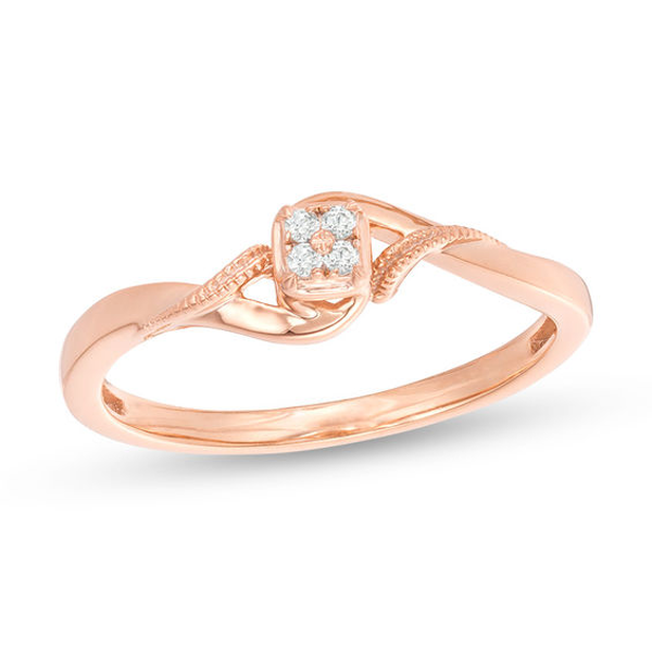 Quad Diamond Accent Bypass Vintage Style Promise Ring In 10k Rose Gold Fashion Rings Promise Rings Rose Gold