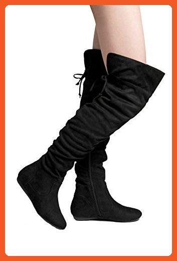 eddebfafe032 HerStyle Lauurren Faux Suede Thigh High Boots Black 6 - Boots for women  ( Amazon